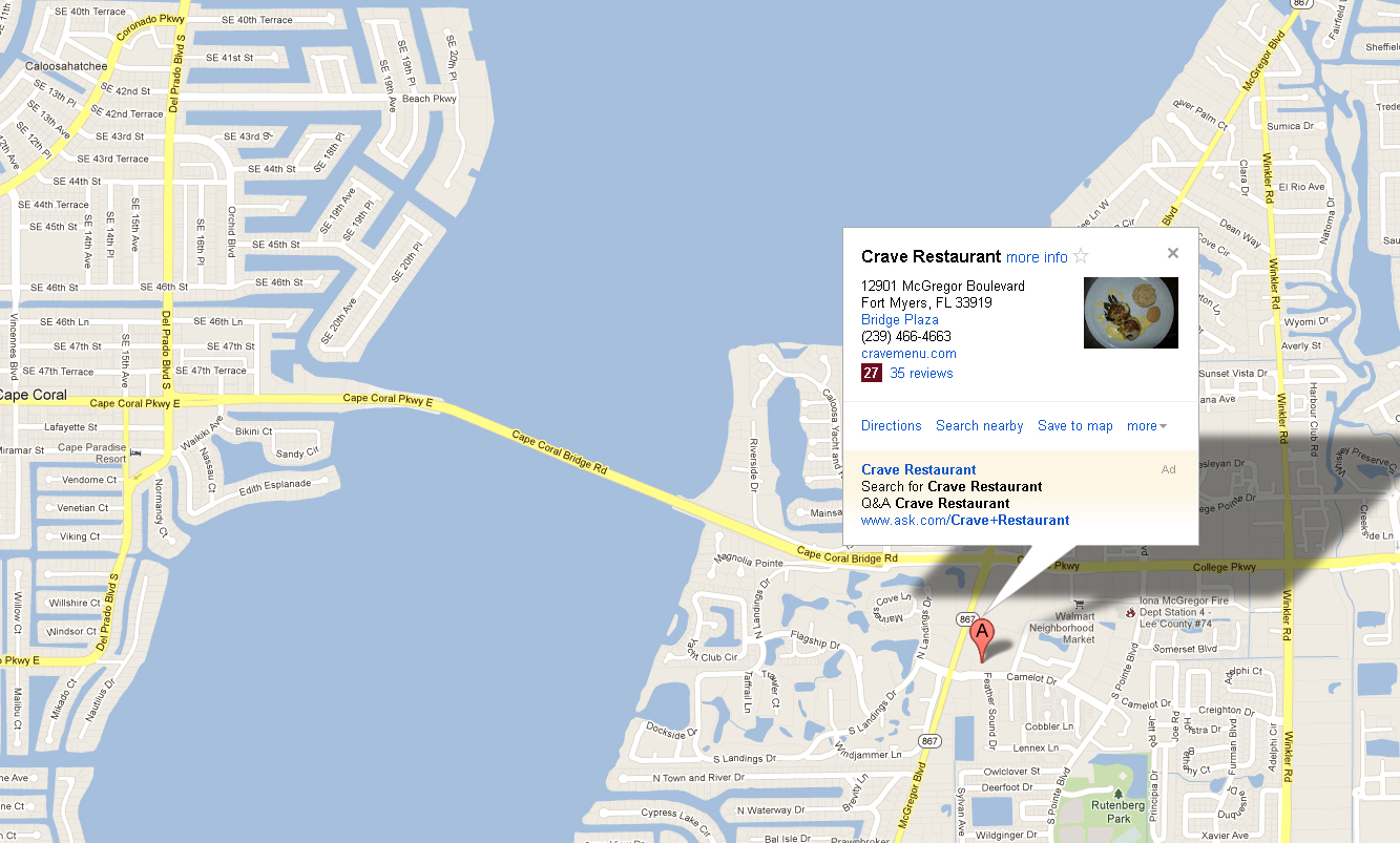 Crave Map Showing Location in Ft. Myers Florida
